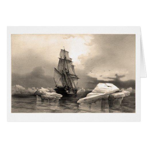 Ship amidst icebergs greeting card