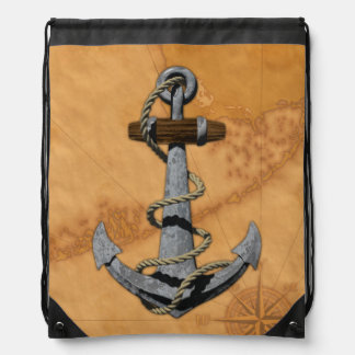 Ship Anchor And Nautical Map Cinch Bags