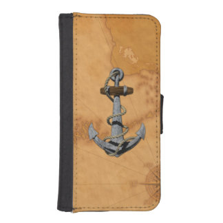Ship Anchor And Nautical Map iPhone 5 Wallet Case