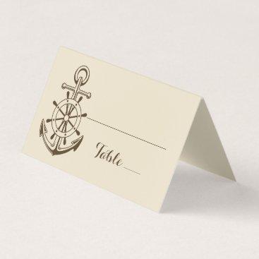 Ship Anchor Brown Tan Nautical Ship Wheel Wedding Place Card