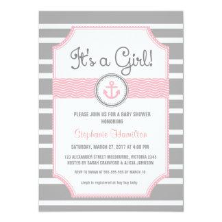Ship anchor nautical baby boy shower 4.5x6.25 paper invitation card