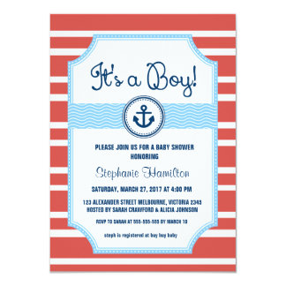 Ship anchor nautical baby boy shower card