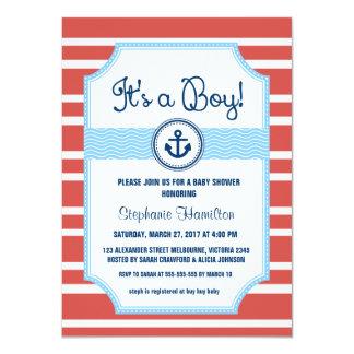 Ship anchor nautical baby boy shower card