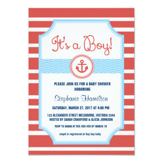 Ship anchor nautical baby boy shower 4.5x6.25 paper invitation card