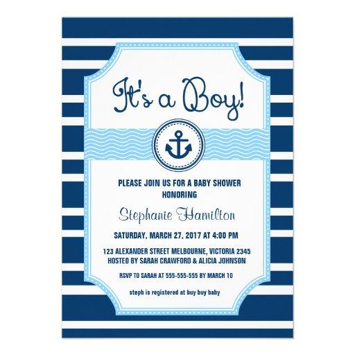 Ship anchor nautical baby boy shower announcements