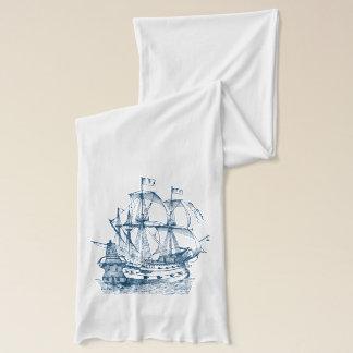 Ship Anchor Nautical Navy blue white scarf