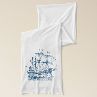 Ship Anchor Nautical Navy blue white scarf
