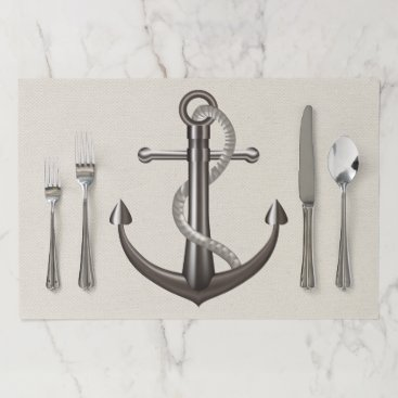 Beach Themed Ship Anchor Tan Brown Nautical Wedding Party Paper Placemat