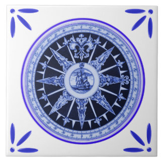 Ship and Compass Marine Vintage-Delft-Blue-Look Tile