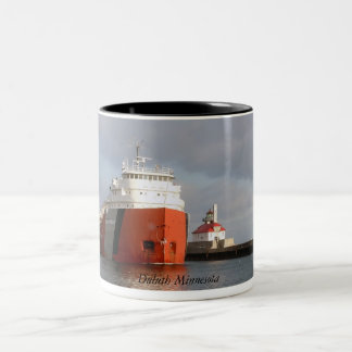 Ship and Lighthouse, Duluth Minnesota Two-Tone Coffee Mug