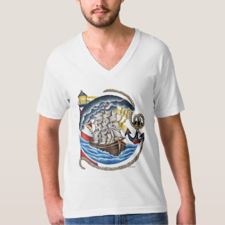 Ship and Lighthouse Graphic Tee