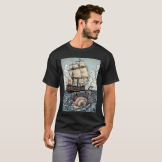 Ship and Sea Serpent on the Ocean T-Shirt