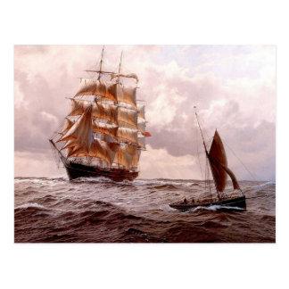 Ship and ship's boat postcard