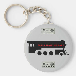 Ship and Travel By Railroad Train Basic Round Button Keychain