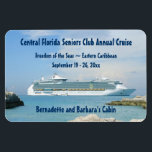 """Ship at CocoCay Custom Cabin Door Marker Magnet<br><div class=""""desc"""">You&#39;ll need one of these for each cabin booked for your group! On this stateroom door marker, a freedom class ship is anchored off the cruise line&#39;s private island. These make nice little bon voyage gifts as someone prepares to set sail on their cruise vacation! Cruise Ships keep getting bigger...</div>"""