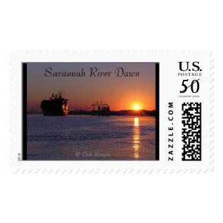 Ship at dawn on the Savannah River Postage