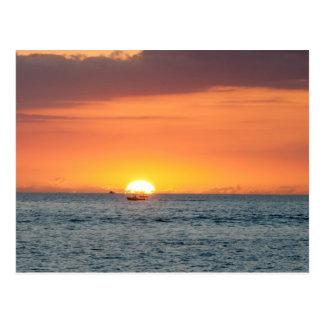 Ship at Sea Sunset Postcard