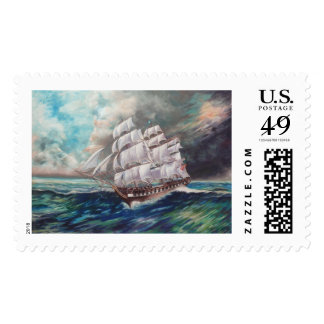 Ship at Stormy Sea Postage