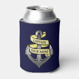Ship Boat Captain Anchor Nautical Sea Custom Name Can Cooler