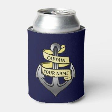 LaborAndLeisure Ship Boat Captain Anchor Nautical Sea Custom Name Can Cooler