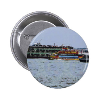 Ship Boat Sail New York Statue of Liberty Islands Pinback Button