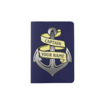 Ship Captain Anchor Sailor Nautical | Custom Name Passport Holder