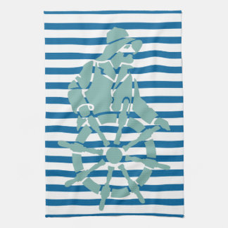 Ship Captain at Wheel Blue and White Stripe Towel