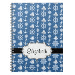 Ship Captain Nautical Blue and White Sailor Spiral Notebooks