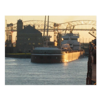 Ship comming out of Soo Locks, Sault Ste Marie, MI Postcard