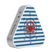Ship Compass Crab Blue and White Stripe Speaker