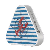 Ship Compass Lobster Blue and White Stripe Speaker