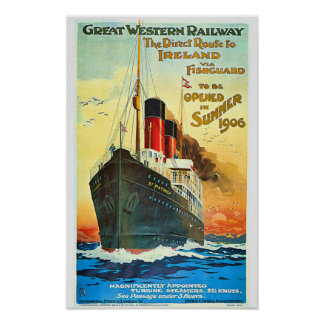 Ship Cruise to Ireland Travel Advertisement Poster