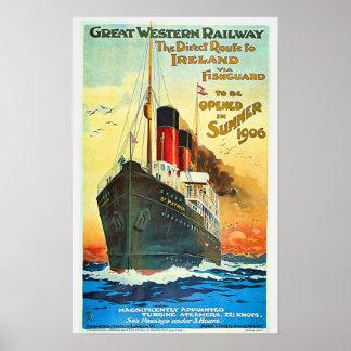 Ship Cruise to Ireland Travel Advertisement Poster