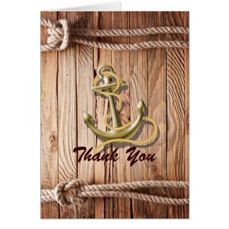 ship dock beach anchor nautical wedding thank you card