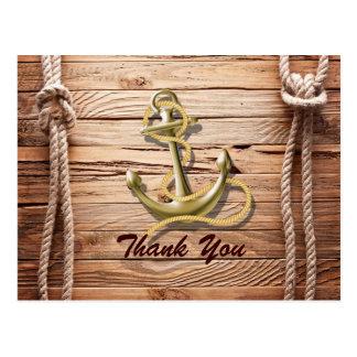 ship dock beach anchor nautical wedding thank you postcard