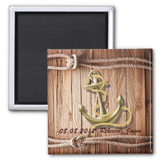 ship dock wood beach anchor nautical save the date magnet