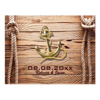 ship dock wood beach anchor nautical save the date postcard
