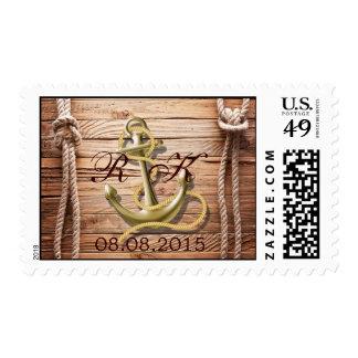 ship dock wood beach anchor nautical wedding stamp