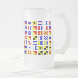 SHIP FLAGS FROSTED GLASS BEER MUG