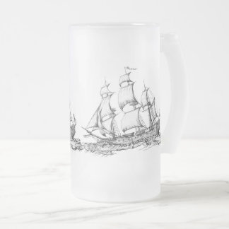 ship frosted glass beer mug