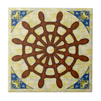 Ship Helm Wheel in Wood Old Map Nautical Seafaring Ceramic Tile