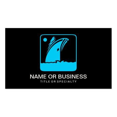 Aqua Blue Ship Icon on Black Background Boating Business Cards