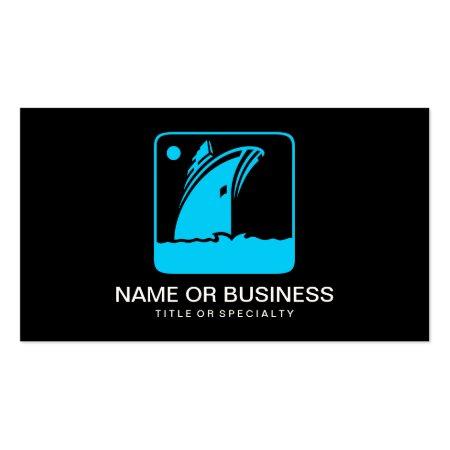 Aqua Blue Ship Icon on Black Background Boating Business Cards