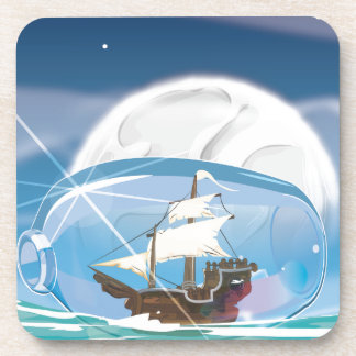 Ship in a Bottle on the sea Beverage Coaster
