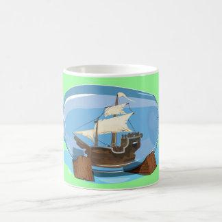 Ship in a Bottle on the sea Coffee Mug