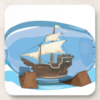 Ship in a Bottle on the sea Drink Coaster