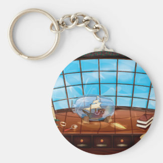 Ship in a Bottle on the sea Keychain