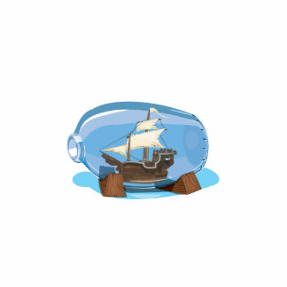 Ship in a Bottle on the sea Photo Sculpture Button