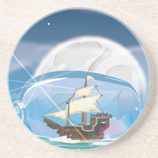 Ship in a Bottle on the sea Sandstone Coaster