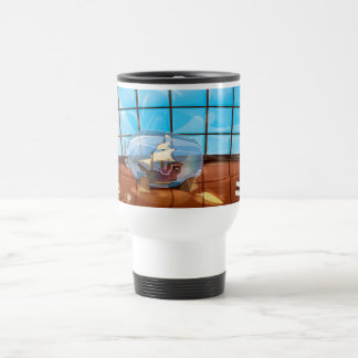 Ship in a Bottle on the sea Travel Mug